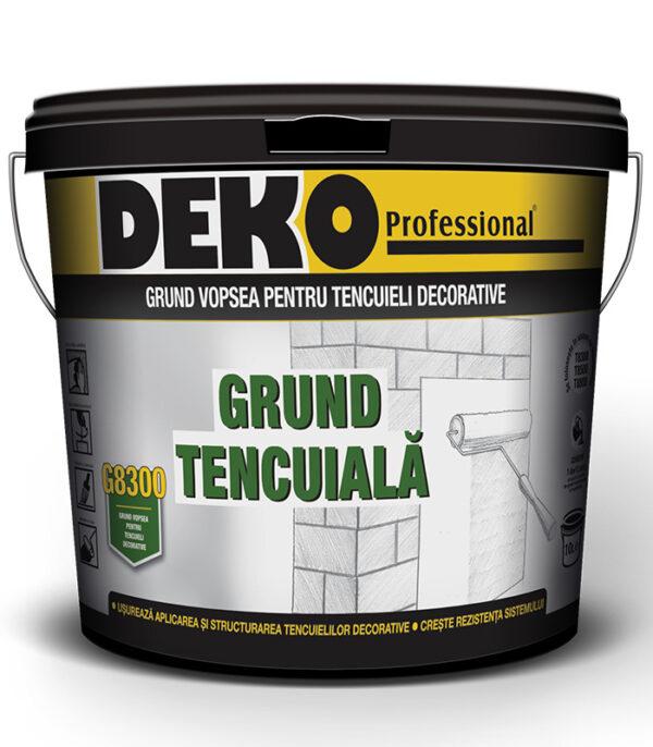 DEKO G8300 Grund tencuiala ușurează aplicarea și structurarea tencuielilor decorative, permițând o creștere a rezistenței și durabilității.