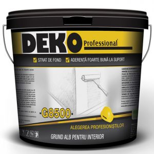 DEKO G8500 Grund alb se utilizează ca strat de fond și de aderență în sistemul de protecție și finisare a suprafețelor minerale la interior.