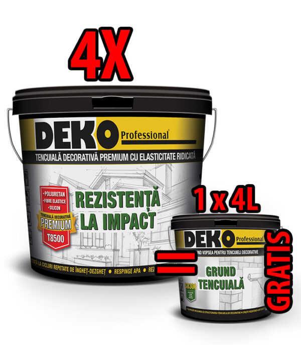 PROMO 4xDEKO T8500 tencuială=4L Grund GRATIS