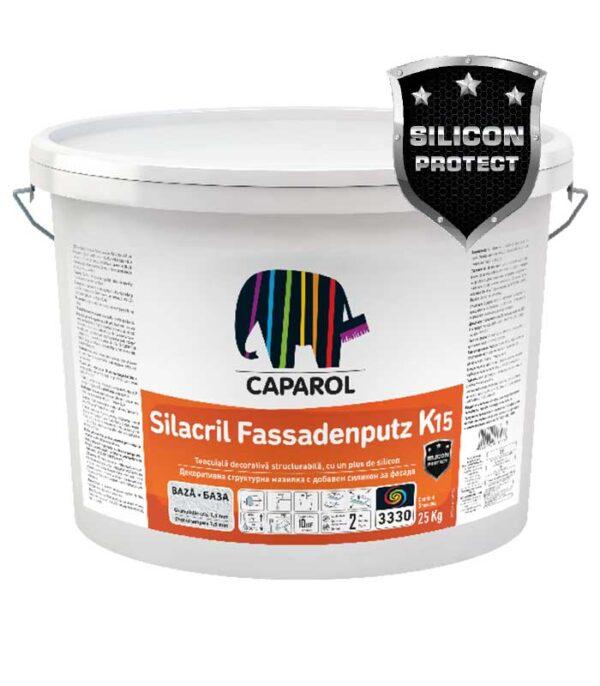 """Tencuiala decorativa Caparol Silacril Fassadenputz este o tencuiala organică îmbunătățită cu silicon cu structură tip """"zgâriată"""" sau """"bob lângă bob"""""""