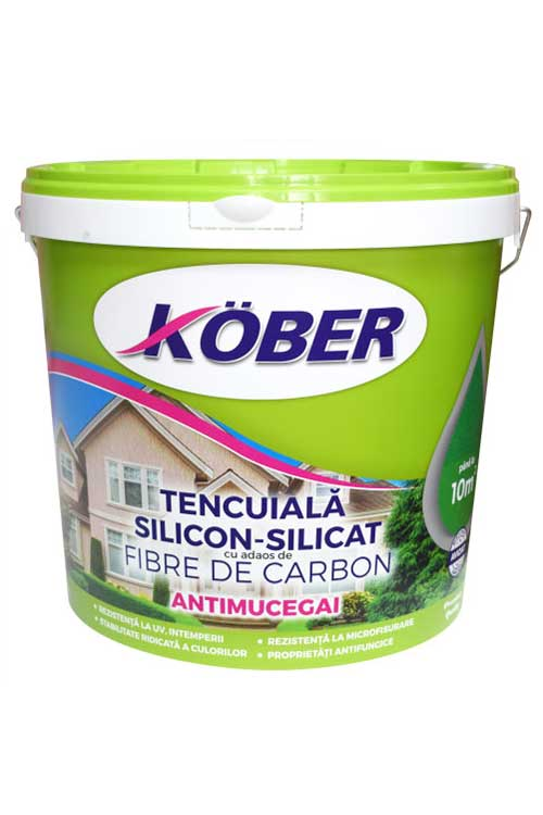 Tencuiala decorativa cu fibra de carbon Kober profesional este un produs profesional pe baza de dispersie polimera acrilo-stirenica si intarite cu fibre de carbon.
